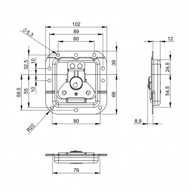 Adam Hall 17294S |  Cierre mariposa giratorio de embutir para anvil
