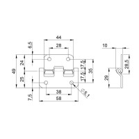 ADAM HALL 2251 | Bisagra desmontable para baúl o anvil con traba